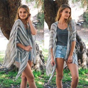 Sweaters - Woven Stripe Kimono Cardigan